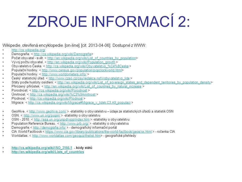ZDROJE INFORMACÍ 2: Wikipedie, otevřená encyklopedie. [on-line]. [cit. 2013-04-06]. Dostupné z WWW: